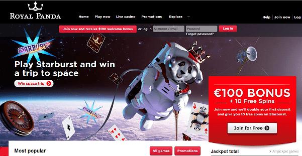 De nieuwe Royal Panda Casino website